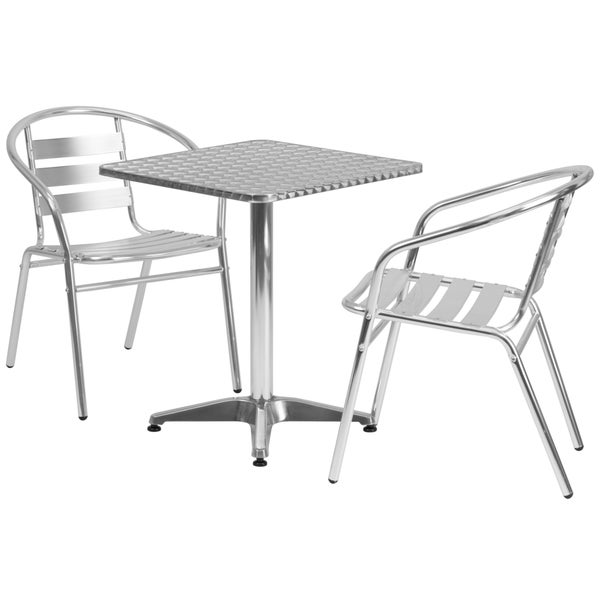 23 5 Foot Square Aluminum Indoor Outdoor Table With 2 Slat Back Chairs