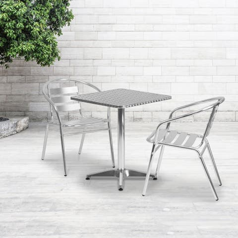 """23.5-foot Square Aluminum Indoor/ Outdoor Table with 2 Slat Back Chairs - 23.5""""W x 23.5""""D x 27.5""""H"""