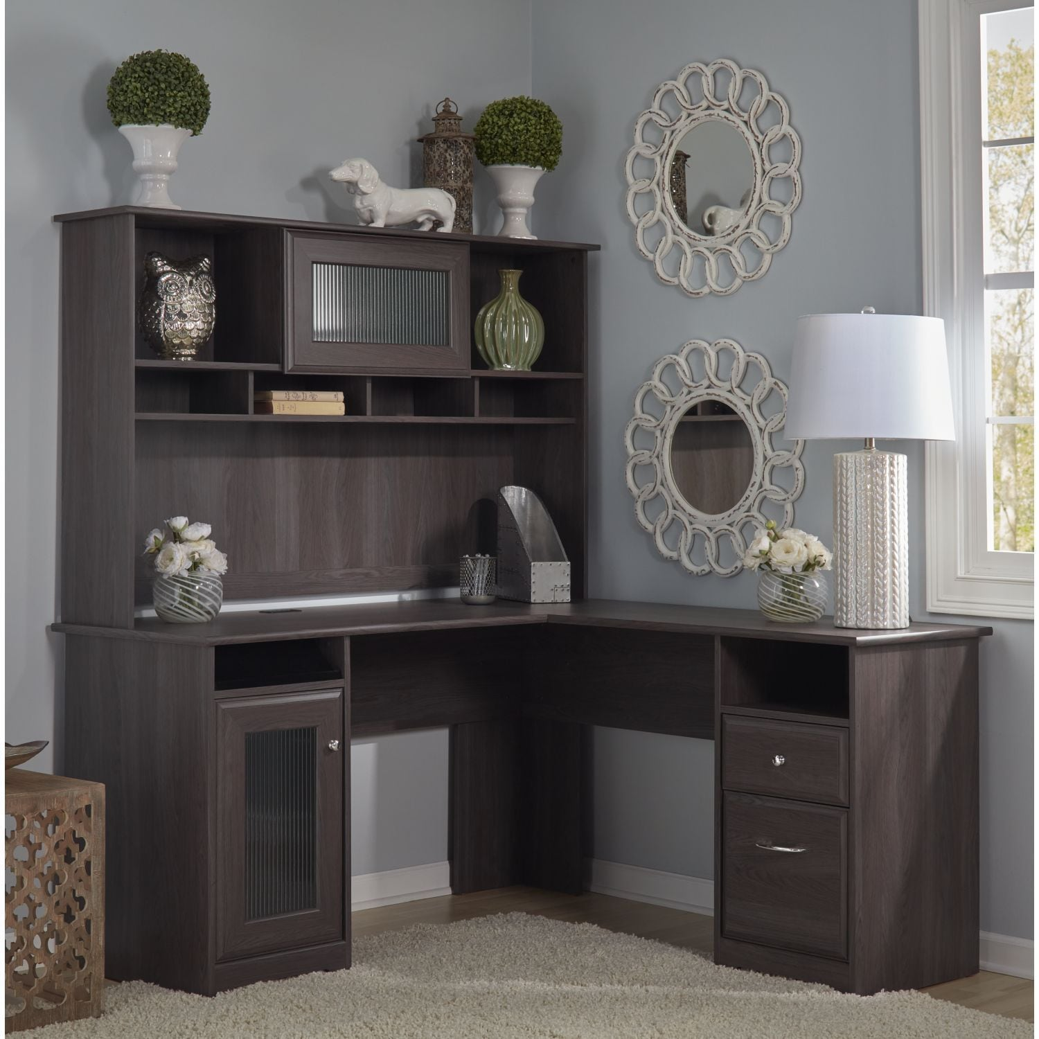 Escritorios Para Mujer Cabot L Shape Large Grey Office Computer Desk Hutch