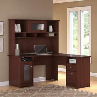 Cabot L Shaped Desk with Hutch (Option: Cherry Finish - Cherry)