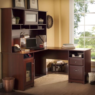 Cabot L Shaped Desk with Hutch (3 options available)
