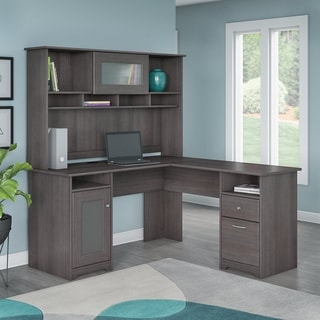 Cabot Espresso Oak L-shaped Desk with Hutch
