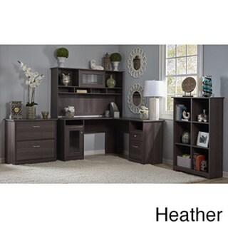 Cabot Espresso Oak L-shaped Desk with Hutch, 6 Cube Bookcase and Lateral File Cabinet