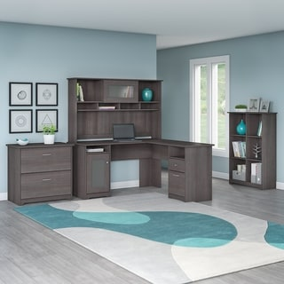 Cabot Espresso Oak L-shaped Desk with Hutch, 6 Cube Bookcase and Lateral File Cabinet