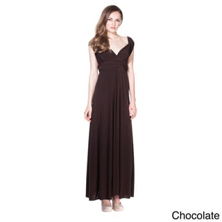Von Ronen Women's Bridesmaid Convertible Wrap Long Cocktail Gown Maxi Dress in Chocolate (One Size Fits 0-12) (As Is Item)