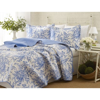 Laura Ashley 3-piece Bedford Blue Reversible Quilt Set (King)(As Is Item)
