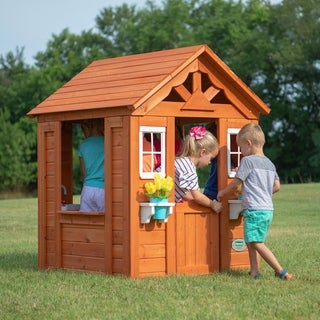 Link to Backyard Discovery Timberlake All Cedar Wood Playhouse - 55 inches high x 46 inches wide x 42 inches long Similar Items in Outdoor Play