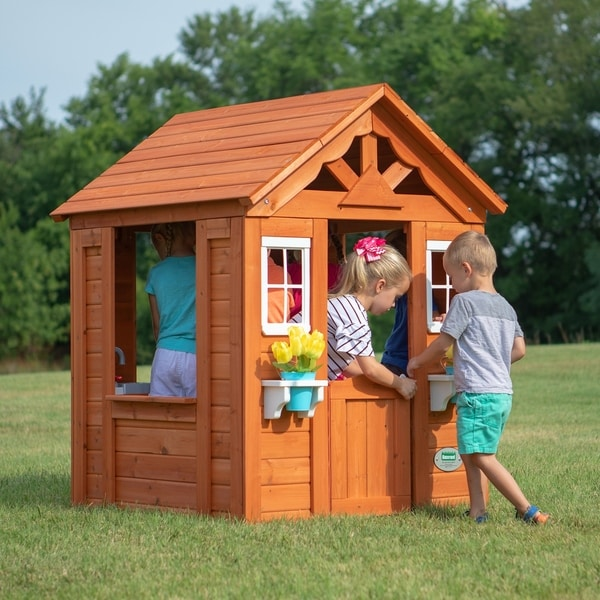 Backyard Discovery Timberlake All Cedar Wood Playhouse - 55 inches high x 46 inches wide x 42 inches long