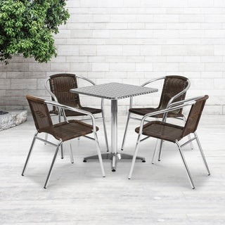 23.5-foot Square Aluminum Indoor/ Outdoor Table with 4 Rattan Chairs
