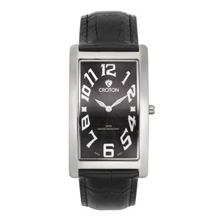 Croton Men's CN307533BSBK Stainless Steel Silvertone Rectangular Watch