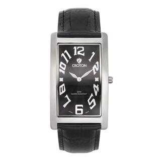 Croton Men's CN307533BSBK Stainless Steel Silvertone Rectangular Watch