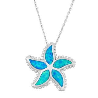 La Preciosa Sterling Silver Blue Opal Starfish Necklace