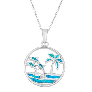 La Preciosa Sterling Silver Blue Opal Palm Tree and Dolphins Circle Necklace