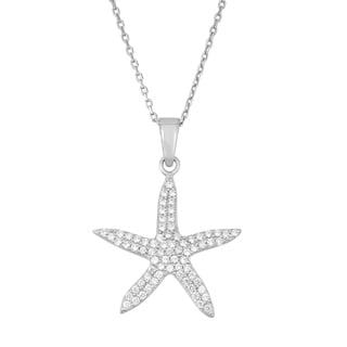 La Preciosa Sterling Silver Cubic Zirconia Starfish Necklace