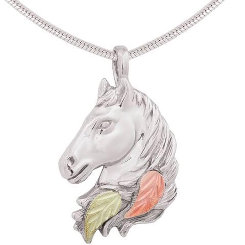 Black Hills Gold on Silver Horse Head Pendant
