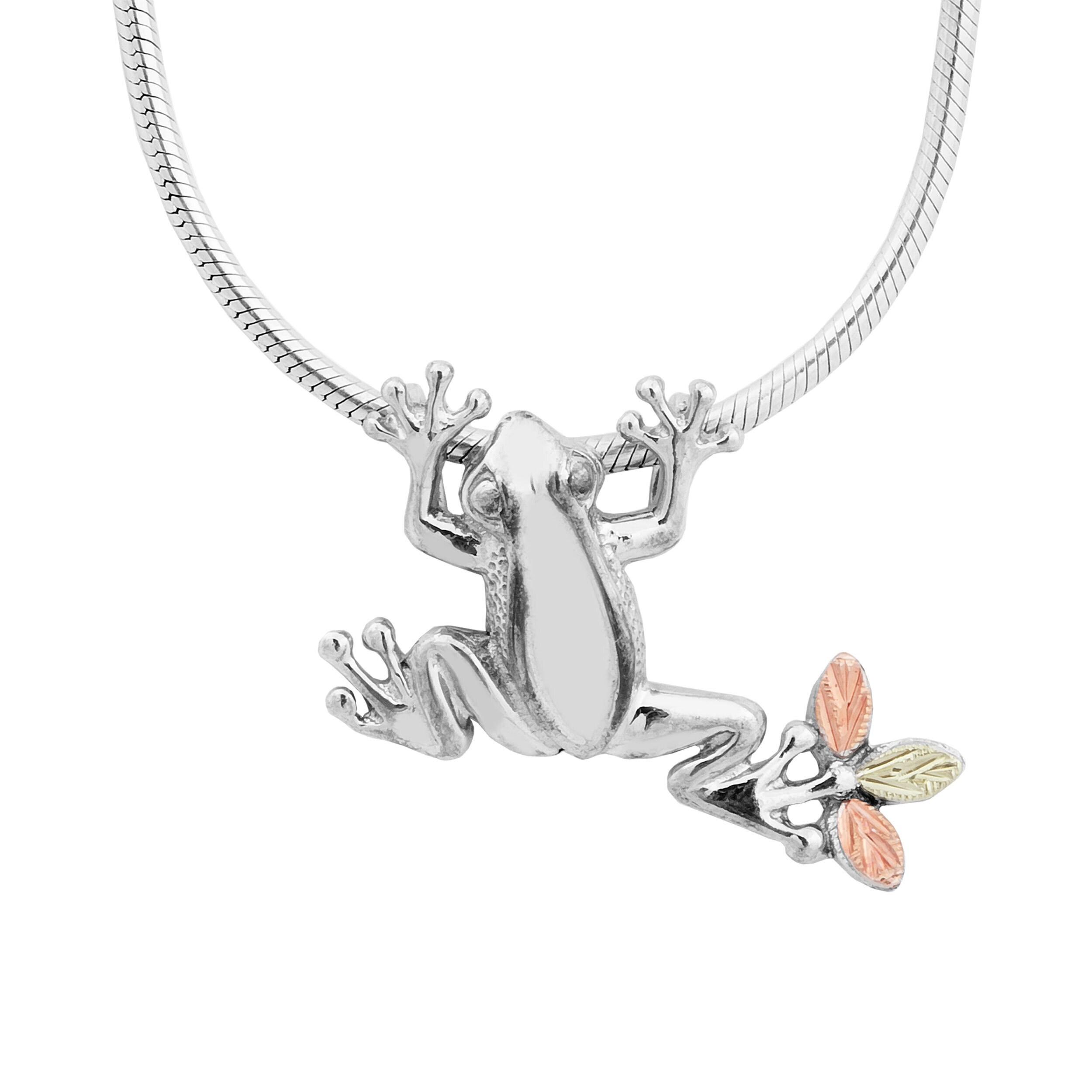 Black Hills Gold over Silver Frog Slider Necklace (Frog),...
