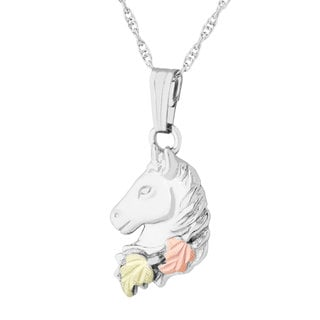 Black Hills 12k Tri-color Gold over Silver Horse Pendant