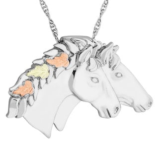 Black Hills Gold on Silver Double Horse Pendant