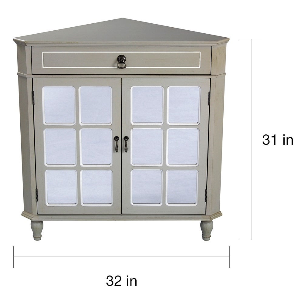 Heather Ann Mirror Insert Double Door Single Drawer Wooden Corner Cabinet