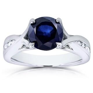 Annello 14k White Gold Blue Sapphire and 1/10ct TDW Diamond Ring (G-H, I1-I2)