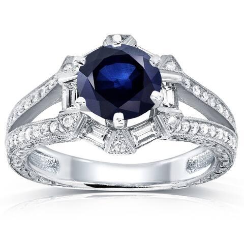 Annello by Kobelli 14k White Gold Blue Sapphire and 1/2ct TDW Diamond Art Deco Ring (G-H,