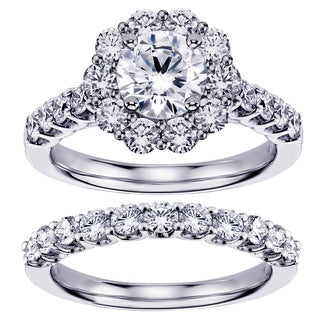 White Gold 2 7/8ct TDW Diamond Brilliant-cut Halo Engagement Bridal Set (G-H, SI1-SI2)