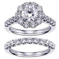 White Gold 2 7/8ct TDW Diamond Brilliant-cut Halo Engagement Bridal Set