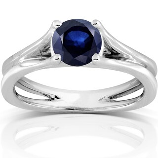 Annello by Kobelli 14k White Gold 1 Carat Blue Sapphire Solitaire Pinched Split Shank Ring