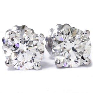 Eco-friendly 14k White Gold 2 ct TDW Lab Grown Diamond Studs with Screw backs (F-G, VS1-VS2)