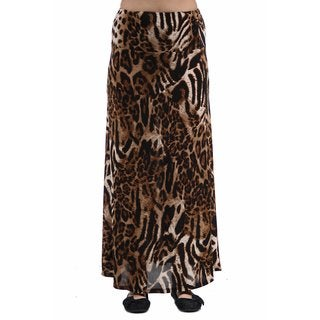 24/7 Comfort Apparel Women's Chocolate Polka-dot Printed Maxi Skirt
