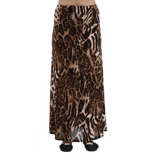 24/7 Comfort Apparel Women's Chocolate Polka-dot Printed Maxi Skirt