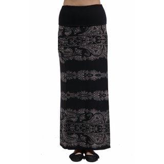 24/7 Comfort Apparel Women's Fall Paisley Printed Fold Over Maxi Skirt