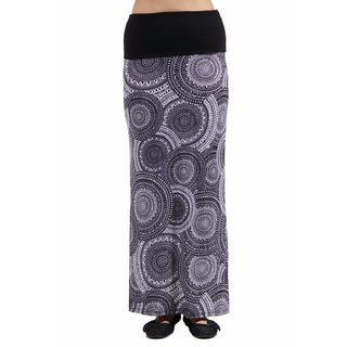 24/7 Comfort Apparel Women's Blackandwhite Oriental Printed Fold Over Maxi Skirt