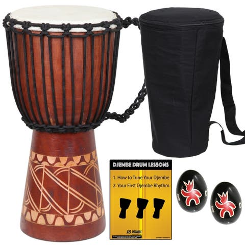 Tribal Carved Djembe Drum with Bag, Shakers & Lessons
