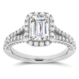 Annello by Kobelli 14k White Gold Emerald Cut Moissanite and 5/8ct TDW Diamond Halo Split Shank Ring
