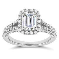 Annello by Kobelli 14k White Gold Emerald Cut Moissanite (HI) and 5/8ct TDW Diamond Halo Split Shank Ring