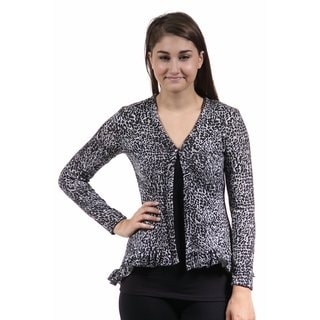 24/7 Comfort Apparel Women's Grey Animal Print Long Sleeve Ruffle Shrug