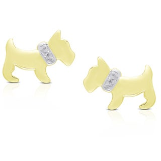 Dolce Giavonna Sterling Silver or Gold Over Silver Puppy Earrings