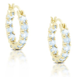 Dolce Giavonna Gold over Silver or Sterling Silver Blue Topaz Hoop Earrings
