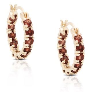 Dolce Giavonna Gold over Silver or Sterling Silver Garnet Hoop Earrings