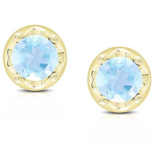 Dolce Giavonna Gold over Silver Gemstone Round Stud Earrings