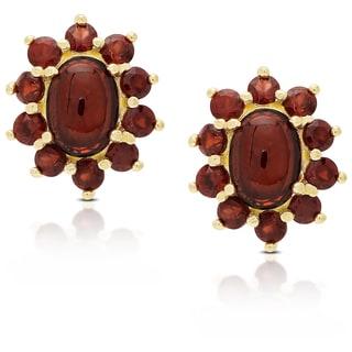 Dolce Giavonna Gold Over Sterling Silver Garnet Flower Design Stud Earrings