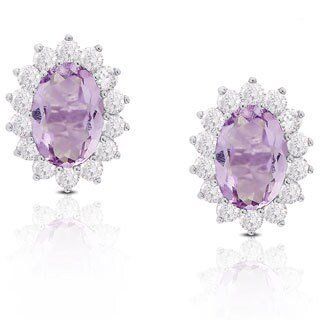 Dolce Giavonna Sterling Silver Oval Gemstone and Cubic Zirconia Stud Earrings