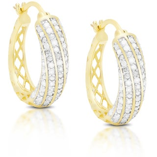 Finesque Sterling Silver or Gold Over Silver 1 ct TDW Diamond Hoop Earrings