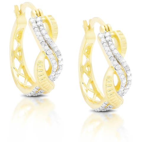 Finesque Sterling Silver or Gold Over Silver 1/3 ct TDW Diamond Infinity Design Hoop Earrings