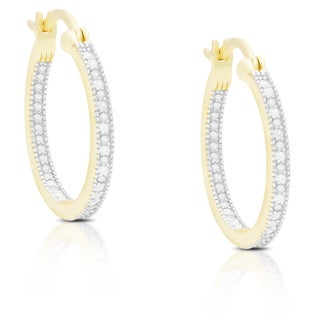 Finesque Sterling Silver or Gold Over Silver 1/10 ct TDW Diamond Hoop Earrings