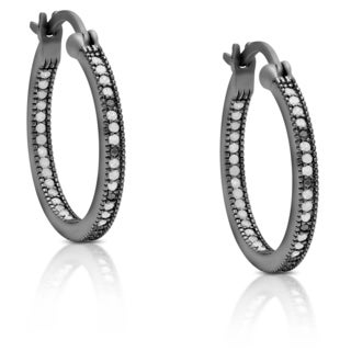 Finesque Sterling Silver 1/3 ct TDW Diamond Hoop Earrings