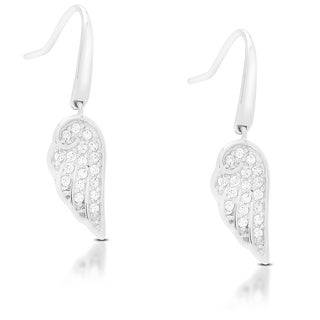 Dolce Giavonna Sterling Silver Cubic Zirconia Angel Wing Design Dangling Earrings