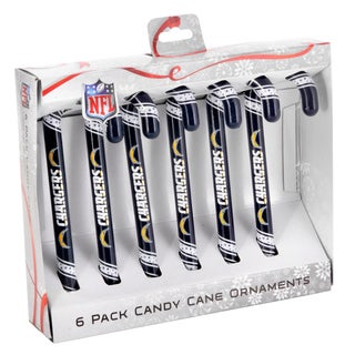 Forever Collectibles San Diego Chargers NFL Candy Cane Ornament Set