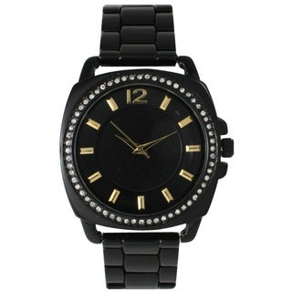 Olivia Pratt Women's Stainless Steel 15323 Black Dial Watch